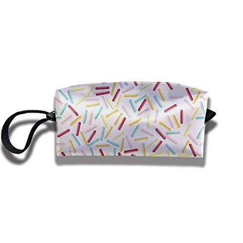Doinh - Neceser pequeño con Cremallera y diseño de aspersión de Color Rosa, Impermeable, portátil, para Guardar cosméticos y cosméticos, Apto para niñas
