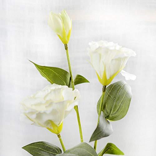 YF-1-1 Flor Artificial Europea de 3 Cabezas de Eustoma, Gradiflorus, Lisianthus para Navidad, Bodas,...