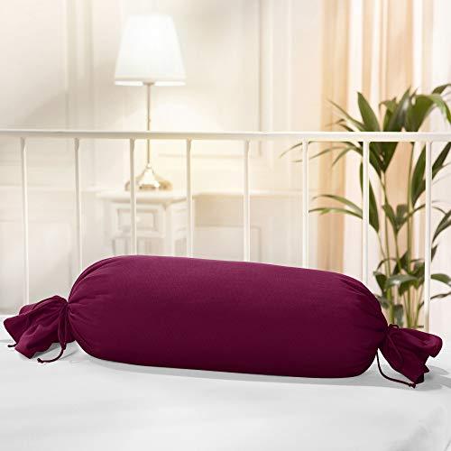 Erwin Müller Nackenrollenbezug Memmingen Interlock-Jersey Bordeaux Größe 40x15 cm Ø - formstabil, faltenfrei, anschmiegsam, mit Bindeband (weitere Farben)