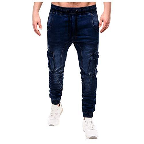 Gaowen Men's Elastic Tight Straight Denim Jeans Casual Loose Beam Port Running Workout Trousers (Dark Blue, XL)