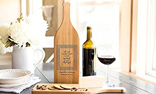 Personalized by Name Cutting Board for Kitchen - Wood Boards Housewarming & Wedding Gift (16.75 x 5 Bamboo Wine Bottle Shaped, E & S Design)