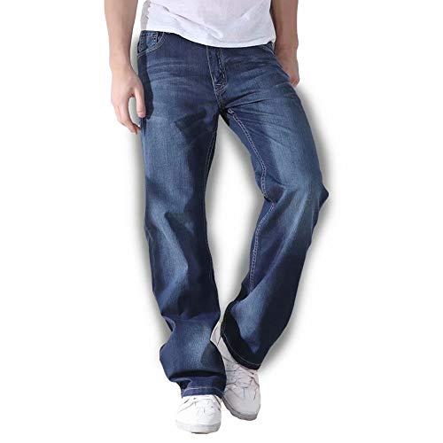[ビカルド]?ジーンズ メンズ 大きいサイズ ルーズストレート 綿 デニムパンツ ロングパンツ ストレート ワイド ゆったり 春 夏 秋 クラシック 薄手 水色 30