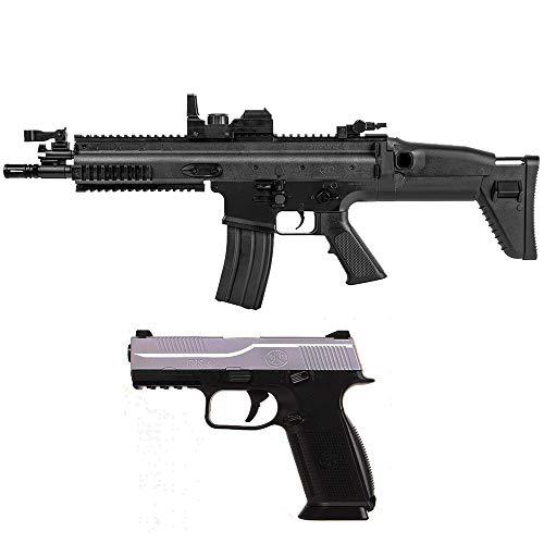 Airsoft-Pack Duo Rifle eléctrica FN Scar y Pistola de Muelle FNS-9 (0.5 Julios) + 500 Bolas