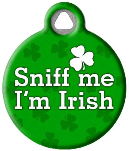 Dog Tag Art St. Patrick's Day Custom Pet ID Tag for Dogs and Cats, Personalized Dog Tag with Customized Identification Information, Sniff Me I'm Irish, Large (1.25' Diameter)