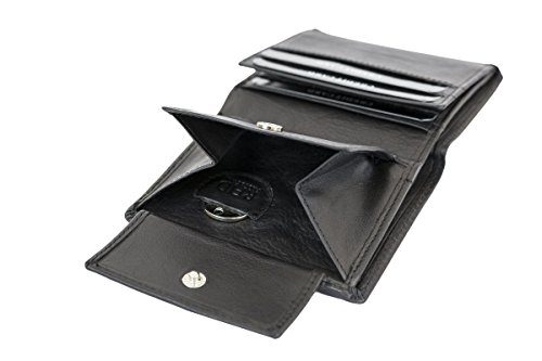 LEAS Mini Geldbörse mit Klappe dünn im Hochformat, flaches Portemonnaie mit RFID Schutz Folie mit Geschenk Box Echt-Leder, schwarz