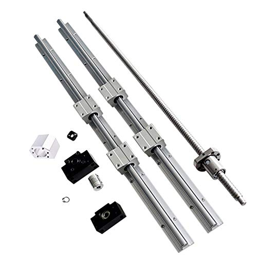 CHUANGNENG Linear Rail Guide SBR20 1500mm kit + Ballscrew RM1605 SFU1605-1500mm Linear Rails Support CNC Kit Linear Shaft Optical Axis for CNC Automated Machines and Equipments