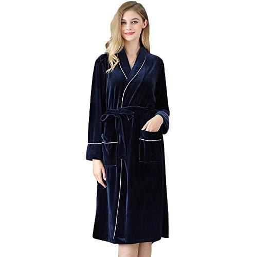 ERLIZHINIAN Frauen Samt-Robe Bademantel Hochzeit Brautkleid Pyjamas Nachtwäsche Taschen Gürtel hochwertiger Herbst Ärmel Langer Tasche Nightie (Color : Blue, Size : L)