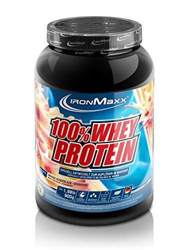 IronMaxx 100% Whey Protein - 900g Dose - 18 Portionen - Erdbeere Weiße Schokolade - Hochwertiges Eiweißpulver für Proteinshake auf Wasserbasis- 36 leckere Geschmäcker - Designed in Germany