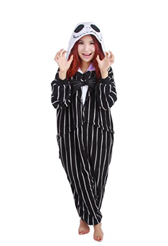 COHO Unisex Kostüm The Nightmare Before Christmas / Jack Skellington, als Pyjama oder Verkleidung verwendbar, für Erwachsene geeignet, Kigurumi-Stil Medium (162-171 cm)