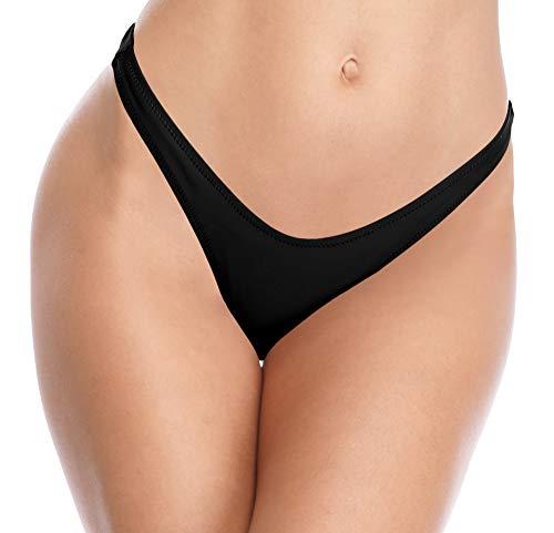 SHEKINI Damen V Schnitt Niedrige Taille Tanga Charmant Brasilianer Bikinihose Sexy Chic Thong Bikini Unterteil Badehose String Schwarz Bademode (Small, Schwarz)