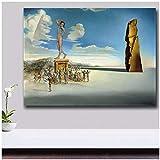 Tiiiytu El Dios de la bahía de rosas de Salvador Dali Pintura en lienzo para la sala de estar Decoración del hogar Pintura al óleo sobre lienzo Arte de la pared-60x90cm Sin marco