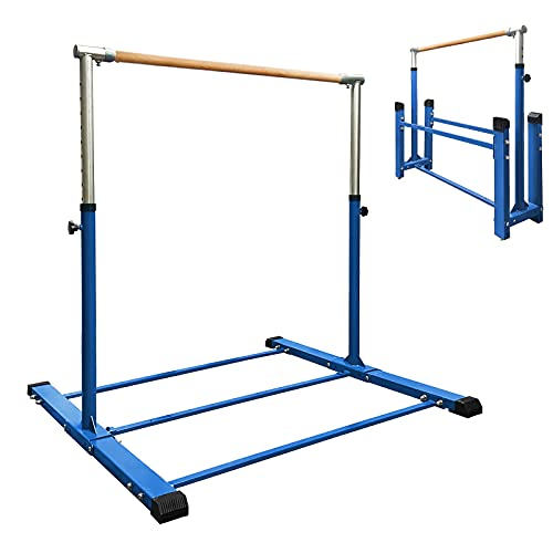 JC-ATHLETICS Foldable & Movable Gymnastic Kip Bar/Junior Training Bar/3' to 5' Adjustable Height,Home Gym Equipment,Ideal for Indoor and Home Training,1-4 Levels,260lbs Weight Capacity