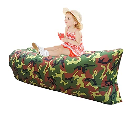 fuguzhu Sofá hinchable, diseño de cojín, tumbona hinchable impermeable, tumbona portátil llena de aire con bolsa de almacenamiento, puf para camping, jardín, playa y piscina (camuflaje)