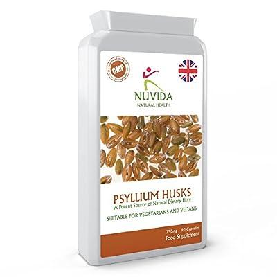 Psyllium Husk Capsules / 90 750mg High Strength Psyllium Husks Capsules/Natural Dietary Fibre/Vegan and Vegetarian Friendly