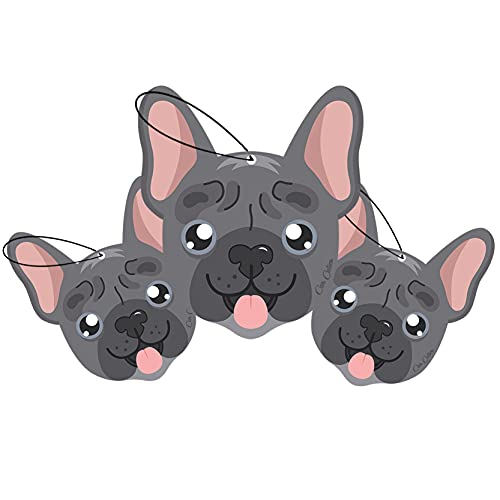 Car Cuties Cute DOG CAR AIR FRESHENER - Cute Dog Design, Long-Lasting Scent, Portion of Proceeds Benefit Paws Chicago (French Bulldog, Rose (Pack of 3))