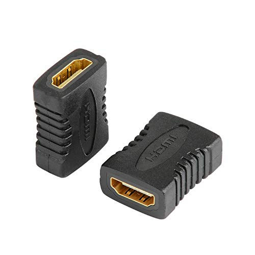 J&D HDMI Coupler Adapter, 2-Pack Placcato Oro Femmina a Femmina 4K HDMI Coupler HDMI Extender, Supporto 3D 4K ARC Ethernet