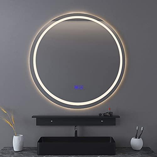 Espejo de baño montado en la Pared Espejo de Maquillaje Iluminado con LED Redondo con Interruptor táctil Inteligente Espejo de Alta definición