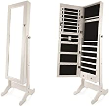 Full Length Jewelry Cabinet With Mirror, White - 132 X 48 X 17 Cm