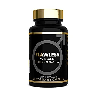 FLAWLESS FOR MEN - Digestive Cleanliness Fibre Supplement Proven Formula - 1470mg Psyllium Husk, Flaxseed Powder, Chia Seed, Soluble Fibre - 100% Pure Vegan Fibre Pills for Men (60 CAPS)