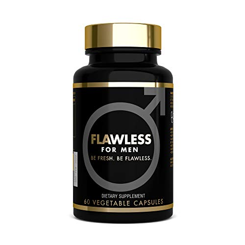 FLAWLESS FOR MEN - Cleanliness Fibre Supplement - 1470mg Psyllium Husk, Flaxseed Powder, Chia Seed, Soluble Fibre - 100% Vegan Fibre Pills for Men (60 Capsules)