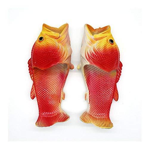 Zapatos de Playa y Piscina Unisex Adulto,Zapatillas con Forma de pez para Hombres, Sandalias de Playa Antideslizantes de Personalidad divertida-40-41_Red,Chanclas Thong