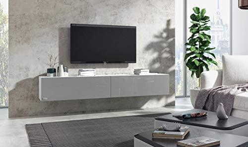 Wuun® Somero Korpus Weiß Hochglanz /240cm/Front Grau-Hochglanz /10 Größen/5 Farben/ TV Lowboard TV Board Hängend Hängeschrank Wohnwand