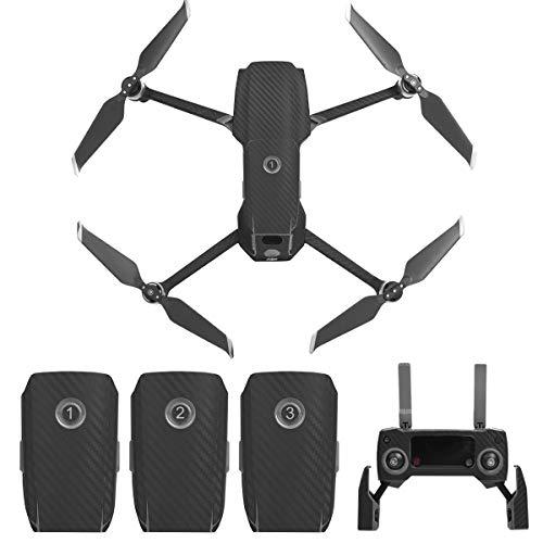 Flycoo - Adesivo in fibra di carbonio PVC per DJI Mavic 2 Pro/DJI Mavic 2 Zoom Drone e telecomando adesivo per pelle di protezione antigraffio impermeabile (nero)