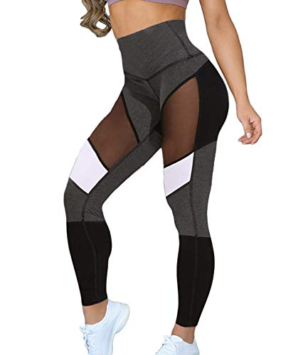 Calça legging feminina KIWI RATA esportiva de malha para ginástica, academia, ginástica, capri, ioga, #2 Color Block- Black, Large