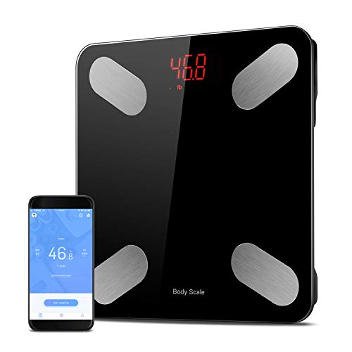 Bilancia Digitale Bluetooth, Sunvito Monitor Composizione grassa corporea, App per telefono per peso corporeo, grasso, acqua, BMI, BMR, massa muscolare