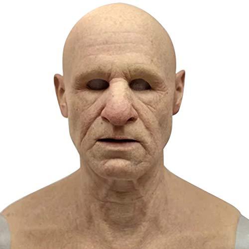 qwertyu Old Man Maske, Supersoft Old Man Erwachsene Maske Handgemachte Silikon Kopfbedeckung Kopf für Transgender Cosplay Drag
