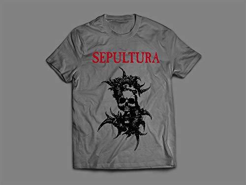 Camiseta/Camisa Masculina Sepultura Metal Tamanho:P;Cor:Cinza