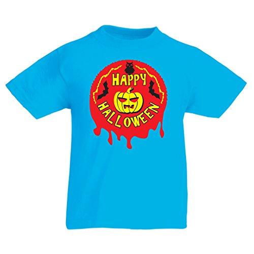 lepni.me Camisas para niños Happy Halloween! - Party Clothes - Pumpkins, Owls, Bats (12-13 Years Azul Claro Multicolor)