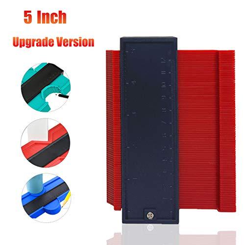 Konturenlehre 5 Zoll Konturmesser, iKiKin Profilanzeige Linealkontur messen Duplikator zum Übertragen von Konturen zum Aufwickeln, runden Rahmen, Rohren und vielen Gegenständen ( Rot )
