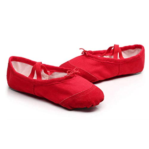 Canvas Ballet Dance Slippers Split Sole Girls Childern Ballerina Practice Shoes for Dancing Kids Ballet Shoes-Red_9.5