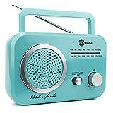 HDi Audio Radio Teal/Silver Premium Home Vintage Portable Retro Radio Classic AM/FM Radio