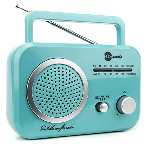 HDi Audio Radio Teal/Silver Premium Home Vintage Portable Retro Radio Classic AM/FM Radio with Built in Speakers + Headphone Jack