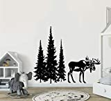 YttBuy Pine Tree Wall Decal Stickers Pine Tree Decor Forest Decal with Moose Woodland Vinyl Wall Decal Woodland Nursery Decal Pine Forest Moose Decal Sticker