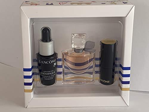 Lancome La vie est belle mini set 4ml edp + L Absolu Rouge 132 Caprice Cream 1.8 g + Advanced GENIFIQUE 7 ml