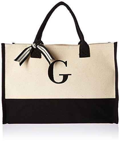 Mud Pie Classic Black and White Initial Canvas Tote Bags (G), 100% Cotton, 17' x 19' x 2'