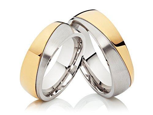 2 alianzas de boda anillos de compromiso anillos de acero inoxidable confies, Bicolor oro plateado y grabado