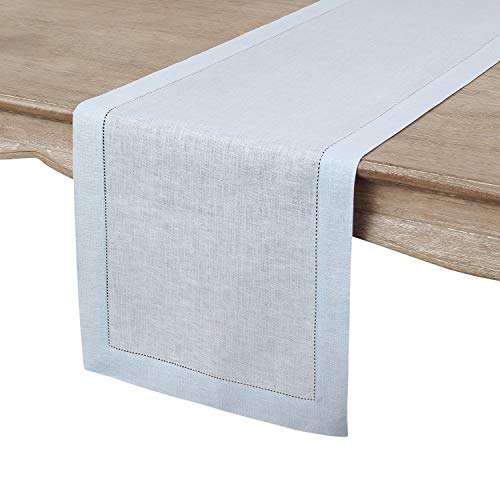 Solino Home 100% Pure Linen Hemstitch Table Runner - 14 x 48 Inch, Handcrafted from European Flax, Machine Washable Classic Hemstitch - Light Blue