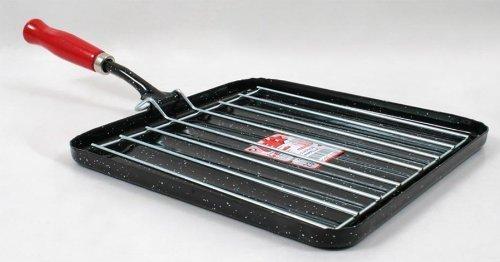 Bistecchiera rostiera quadrata da cm23 con griglia scolagrasso; prodotta in Spagna