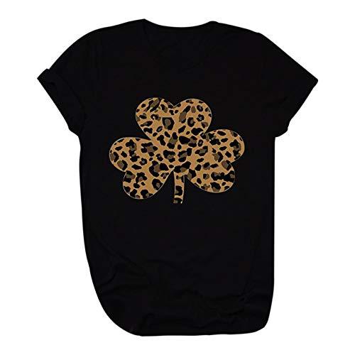 Winkey Mens Camiseta de manga corta para mujer, para el día de San Valentín, talla grande, informal, holgada, con estampado de leopardo negro XL