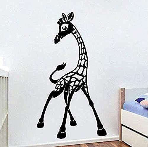 RTYUIHN Pegatinas de pared jirafa 3d pegatinas negras serie de animales papel tapiz dormitorio de jardín de infantes habitación de los niños de la pared pegatinas de pared flores 3d 53X91Cm