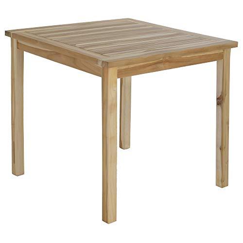 MACOShopde by MACO Möbel Gartentisch Beistelltisch aus massivem Teak Holz - großer, Quadratischer Holztisch 80 x 80 cm, wetterfest für Garten, Balkon und Terrasse