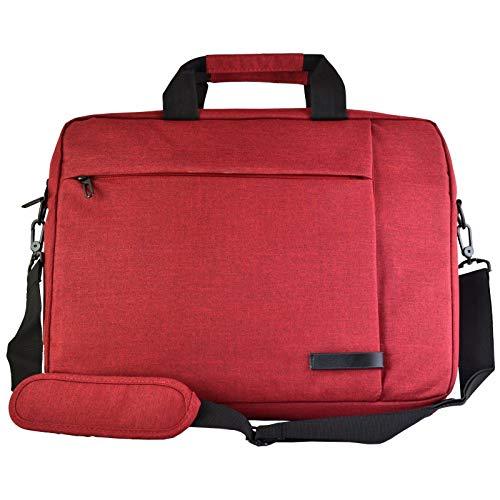 Unbekannt bw & h Messenger Canvas Laptoptasche für Apple MacBook Lenovo Acer Google Chrome für Dell Asus HP Samsung bis 15,6 Zoll (39,6 cm), Rot