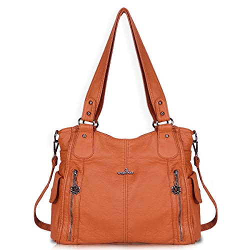 Women Handbags Shoulder Bags Washed Leather Satchel Tote Bag Mutipocket Purse (1193-2 Brown)