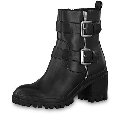 Tamaris Damen Stiefeletten 25907-23, Frauen Biker Boots, leger Stiefel Stiefelette halbstiefel Bikerstiefelette Bootie hoch Damen,Black,38 EU / 5 UK