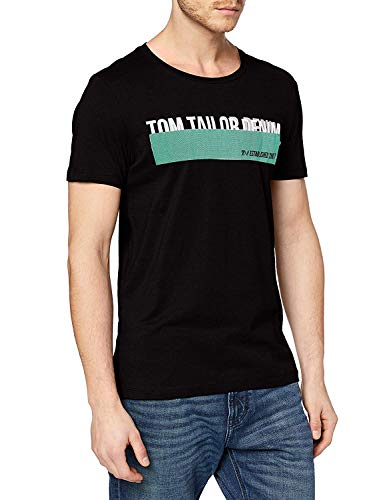 TOM TAILOR Denim Print Camiseta, Negro, M para Hombre
