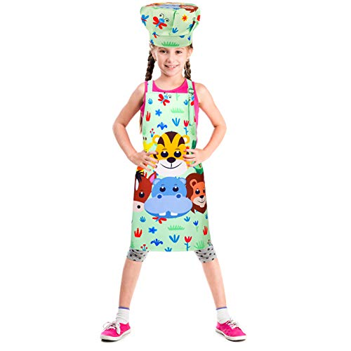 RELEASE SPINNER Kids Apron Chef Hat Set Rainbow Animal Child Aprons with Adjustable Neck Strap Kitchen Aprons for Boys and Girls Kitchen Cooking Baking Wear